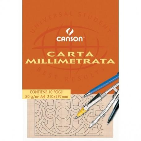 BLOCCO CARTA MILLIMETRATA CANSON A4 10FF