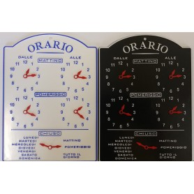 TARGA ORARIO IN PLEXIGLASS 19X14