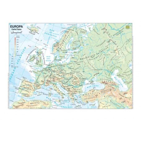 Immagini Cartina Fisica Europa.Carta Geografica 70x100 Europa Fisica