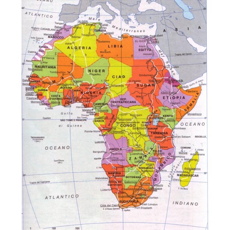 Cartina Giografica Africa.Carta Geografica 24x32 Africa