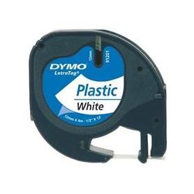 NASTRO DYMO LETRATAG 12MMX4M NERO-BIANCO PLASTICA